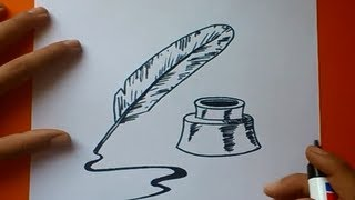 getlinkyoutube.com-Como dibujar una pluma paso a paso | How to draw a quill
