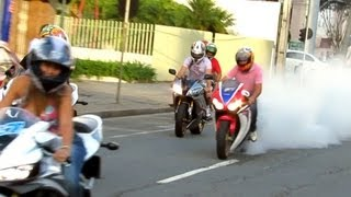getlinkyoutube.com-Honda CBR 1000RR HRC Burnout, 600RR & Bandit Wheelie, GSXR750 ZX6R S1000RR R6 - Loud Sounds