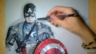 getlinkyoutube.com-Drawing Time lapse: Captain America - Realistic Art
