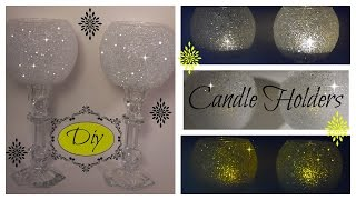 DIY -   THE ORIGINAL FROSTY BLING CANDLE HOLDER -WEDDINGS - DOLLAR TREE/GOODWILL/MICHAELS