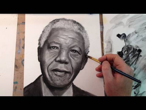 Portrait of Nelson Mandela- Dry Brush Technique (Oil Paint)