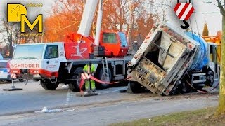 getlinkyoutube.com-EXTREME CRASH GARBAGE TRUCK FLIPPED OVER recovery with crane