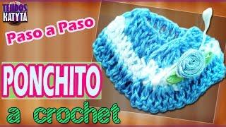 getlinkyoutube.com-Recuerdo Bautizo o Baby Shower - PONCHO a Crochet