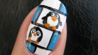 getlinkyoutube.com-Cute Winter Nail Art - Penguin Hotel Animal Tutorial Design Freehand tux happy feet