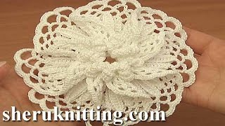getlinkyoutube.com-Crocheted Large Petal Flower Tutorial 101 Demo Version