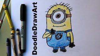 getlinkyoutube.com-How To Draw A Minion (Despicable Me)   Subscriber Request Easy Drawing Lesson