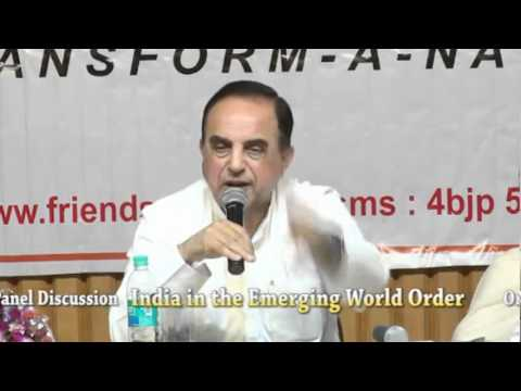 Subramanian Swamy answering questions during FriendsofBJP Panel Discussion