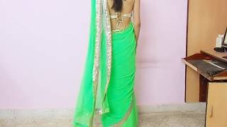 getlinkyoutube.com-How To Wear Backless Sari Blouse-How To Wrap Backless Saree Blouse/Saree draping Tutorial