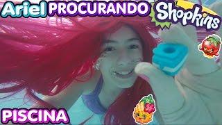 getlinkyoutube.com-Desafio na Piscina Princesa Sereia Ariel Procura Tesouro Shopkins Surpresa ( Inédito, Mergulhos)
