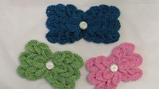 getlinkyoutube.com-كروشيه فيونكة بغرزة قشور السمك Crochet Crocodile Stitch Bow