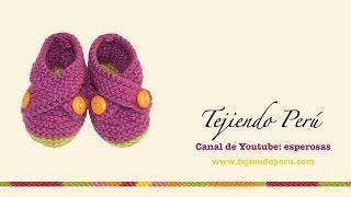 getlinkyoutube.com-Zapatitos cruzados tejidos en dos agujas para bebes (Parte 2)