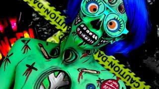 getlinkyoutube.com-Cartoon Pop Art Zombie Makeup Halloween Tutorial