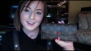 getlinkyoutube.com-Louis Vuitton Emilie Wallet in Monogram with Red Leather Review & Hotstamped!