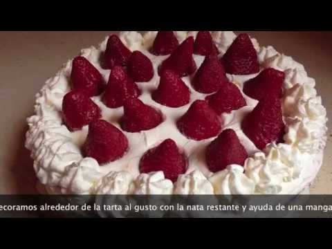 Tarta de fresas y nata, riquísima y fácil