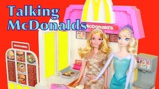 getlinkyoutube.com-AllToyCollector McDonald's Barbie Drive-Thru TALKING Playset Disney Frozen ELSA Princess Toy Review
