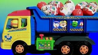 getlinkyoutube.com-Ovos Kinder Masha and the Bear Surprise eggs 킨더조이 와 뽀로로 트럭과 라바 장난감  Маша и Медведь  Masha i Medved