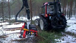 getlinkyoutube.com-Valtra A93 Hitech with Nisula 325H harvester head