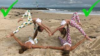 Extreme Yoga Challenge Big sisters vs Little sisters | The Rybka Twins width=