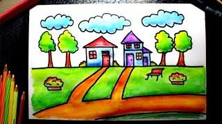 getlinkyoutube.com-versi cepat: cara menggambar rumah untuk siswa SD