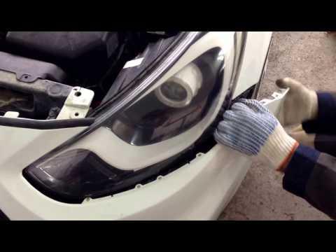 Хенде Солярис как снять фару (Hyundai Solaris 2013)