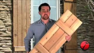Board-n-Batten Wood Shutters - YouTube on custom primitive shutters, open shutters, cowboy with gun holes window shutters, house windows with shutters,