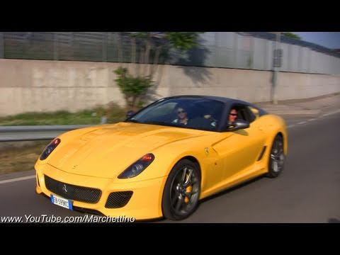 12x Ferrari 599 GTO Accelerating and Sound!