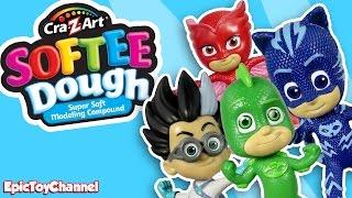 getlinkyoutube.com-PJ Masks Playset Gekko Catboy Owlette Romeo 3D Super Hero Maker Play Doh Softee Dough Disney Toys