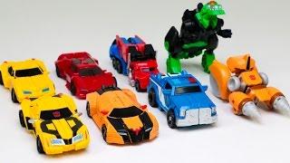 getlinkyoutube.com-Transformers RID Adventure Mini Autobots Legion Bumblebee Optimus Prime 8 Vehicles Robot Car Toys