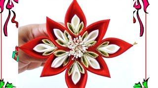 getlinkyoutube.com-Flores Kanzashi Navideñas - Christmas kanzashi flowers
