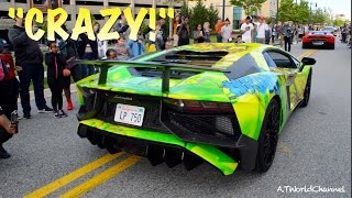 getlinkyoutube.com-WOMAN GOES CRAZY Over Lamborghini! Aventador SV Revs & Vorsteiner Huracan