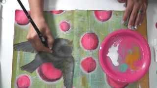 getlinkyoutube.com-Mixed Media Friday - Art Journal Tutorial - Fly like a bird
