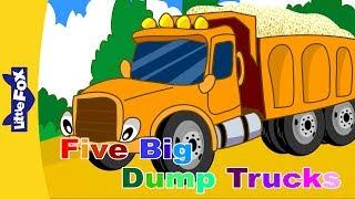 getlinkyoutube.com-Five Big Dump Trucks | Song for Kids | By Little Fox