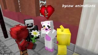 getlinkyoutube.com-Mangle and Foxy Love Story - FNAF Minecraft Animation (Five Nights At Freddy's Monster School)