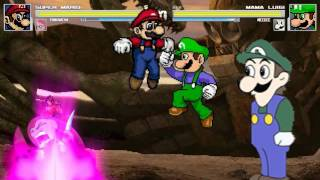 getlinkyoutube.com-AN Mugen Request #207: Super Mario & Pinkamena VS Mama Luigi & Weegee