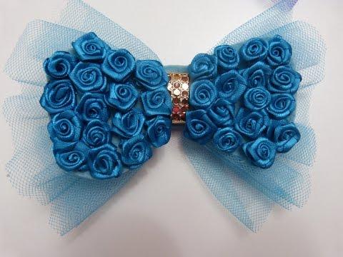 moños corbatin grades decorados con rosas rococo en cinta raso y organza para el cabello