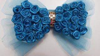 getlinkyoutube.com-Moño  corbatin  decorados con rosas rococo en cinta raso y organza para el cabello