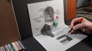 getlinkyoutube.com-How I Draw a 3D Staircase, Art Drawing