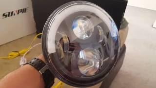 "getlinkyoutube.com-SUNPIE LED Headlights 7"" Half Halo on a 2012 Jeep Wrangler Unlimited Install and Instructions"