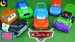 getlinkyoutube.com-Disney Cars Mix and Match Mega Bloks Toys! Dinoco Lightning Mcqueen Mater Funny Toy Videos for Kids!