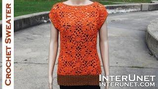 getlinkyoutube.com-Crochet sleeveless lace sweater - motifs stitch