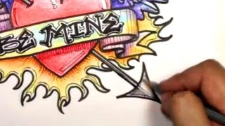 getlinkyoutube.com-How to Draw a Heart: Ultimate Graffiti Heart Design with Banner, Wings, Arrow and Flames