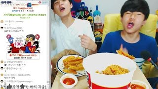 getlinkyoutube.com-중3BJ파투+BJ초코맨 KFC 점보치킨+햄버거 세트2개 먹방! ㅋㅋㅋ