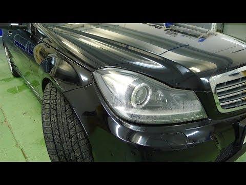 Mercedes W204 ремонт фар Установка би светодиодных линз Optima Premium Professional