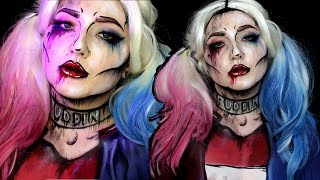 getlinkyoutube.com-Pop Art Suicide Squad Harley Quinn Halloween Makeup Tutorial