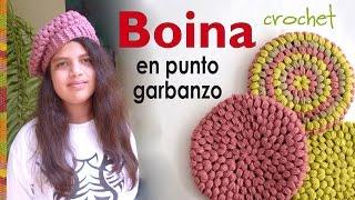 getlinkyoutube.com-Boina en punto garbanzo o puff tejida a crochet - Crochet puff stitch beret