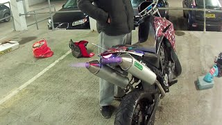 getlinkyoutube.com-XT660X Arrow Exhaust (Custom Arrow Shooting Flames, Crazy Backfire)