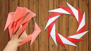 getlinkyoutube.com-Origami Easy - How to make Dragon Claws & Paper Ninja Star shuriken 14 points - tutorial