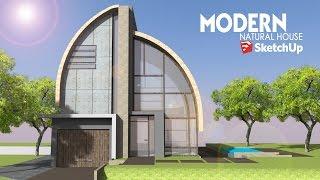 getlinkyoutube.com-Sketchup - Speed Build - Modern Natural House