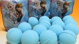 getlinkyoutube.com-アナと雪の女王 びっくらたまご×15 Disney Frozen Bath Bubble powder ball ディズニー バスボール 入浴剤