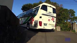 getlinkyoutube.com-なんちゅう坂道や! ISUZU GALA 下天草観光バス 登坂 Tourist bus start advance at RYOKAN.